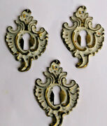 3 French Cast White Brass Key Hole Cover Cabinet Furniture Hardware Kbc K4433