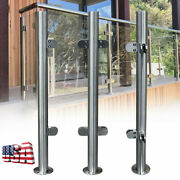 110cm Stainless Steel High Glass Balustrade Handrail Railing Post With Clamps Us