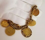 Vintage 1950's Gold Plated Austrian Canadian Coin Charm Bracelet Signed Nice