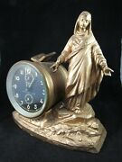 Antique Figural Clock Bradley 1930and039s Wind Up Religious Alarm Germany Vintage