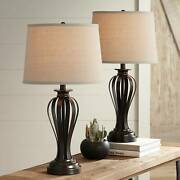 Rustic Table Lamps Set Of 2 With Wifi Smart Sockets Bronze Open Cage For Bedroom
