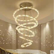 3 Sides Dimmable Led Circle Crystal Chandelier Bedroom Stair Floor Pendant Lamp