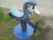 Playworld Cast Aluminum Seahorse Playground Spring Toy Bolted To Antique Saw Bla