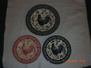 Queens China Black, Red 9 In. And Black Checkered 101/2 In. Rooster Plates