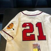 Warren Spahn Signed Authentic 1950's Milwaukee Braves Game Jersey With Jsa Coa