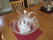 Cut Glass Water Pitcher And Wash Bowl Basin Look Hard To Find X Condition C Pic