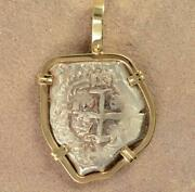 Authentic 4 Reales Cob Treasure Coin In Solid14kt Gold Pendant Dated 1750