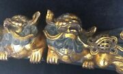 Japanese Pair Vintage Temple Foo Dogs / Lions /wood Carved Golden C1950s
