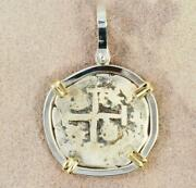 Authentic 2 Reales Cob Treasure Coin In S/s + 14kt Gold Pendant Dated 1739