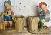 Vintage Chalkware Statue Figurines Girl And Boy Planters Coventry Ware 2649c 2650c