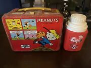 Peanuts Snoopy Charlie Brown Woodstock Metal Lunchbox Lunch Box W/thermos,1965
