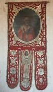 Antique Russian 19th Century Hand Painted Orthodox Church Icon Banner Horugv