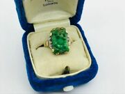 1940and039s Bi-color 10k Gold Carved Chinese Jade Jadeite Diamond Ring
