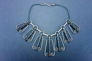 Vtg American Modernist Milton Cavagnaro Sterling Silver And Wood Necklace Choker