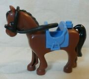 Lego Friends Riding Horse With Saddle And Reins Brown W/blue Saddle