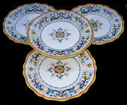 Deruta Pottery Hand Painted Ricco Antico Pattern Dinner Plates Set Of 4
