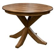 Amish Round Transitional Single Pedestal Dining Table X Base Solid Wood 48,54