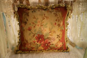 20 Antique French Country Theme Floral Throw Pillow Aubusson Design Vintage