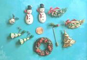 Vintage Antique Christmas Themed Jewelry Brooch Pin Earring Lot Lqqk 8 Pc