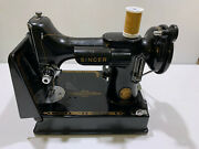 Vintage Singer 1957 Featherweight Sewing Machine With Accessories And Box