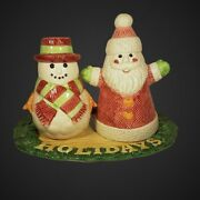 Omnibus By Fitz And Floyd 1996 Santa And Snowman Salt And Pepper Shakers With Tray