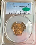 1930 S Lincoln Cent Pcgs Ms 66 Rd Cac. Freshly Graded