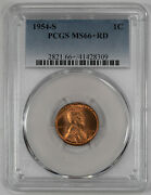 1954 S Lincoln Wheat Cent Penny 1c Pcgs Certified Ms 66+ Red Mint Unc Plus 309