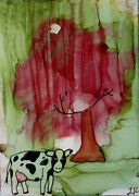 Aceo Art Print Cow And Red Tree By Lynne Kohler
