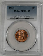 1952 Lincoln Wheat Cent Penny 1c Pcgs Ms 66 Red Mint State Uncirculated 785