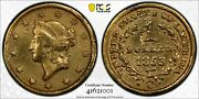 1853-c G1 Gold Dollar Pcgs Smoothed Surfaces