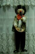 Vintage Old Large Wood Control Fabric Cheerful Artist Puppet Dolls Statue 62cm