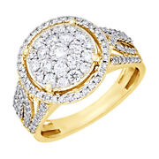 1.00 Ct Round Cut Natural Diamond 14k Yellow Gold Cluster Ring
