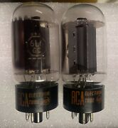 Rca 6l6gc Pair Black Plate Tested Strong - Made In Usa