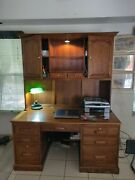 Beautiful Finish Wood Desk And Hutch For Sale