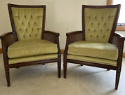 Pair Of Mid Century Upholstered Fairfield Chair Tufted Back Green Cushion Cane