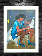 Mid-century Modern Antique Oil Painting Black African American Woman Portrait