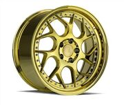 4set Aodhan Staggered Ds01 19x9.5/10.5 5x114.3 +15/22 Gold Vacuum Chrome Rivet
