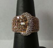 10k Yellow Gold Diamond Cluster Belt Buckle Ring .70ct 5.8g Size 7