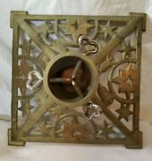 Antique Cast Iron Christmas Tree Stand Gold Color Bells And Stars