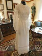 Stunning Vintage Antique White Handmade Lace And Soft Organza Wedding Gown Sz 6