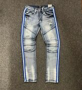 Menand039s Ops Washed Blue Jeans With Royal Taping