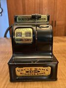 Vintage 1940's Uncle Sam's 3 Coin Register Mechanical Bank. Tested And Working