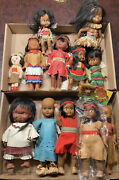 Large Lot Of 12 Vintage Native American Toy Dolls Antique Indian