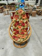 Vintage Bamboo Rattan Bentwood Egg Swivel Chair Red Floral Lattice Cushions
