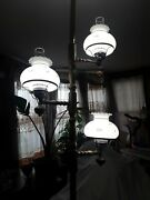50 Down Vintage Mcm Rare 3 Way And 3 Light Tension Pole Brass And Wood Lamp 7-9'