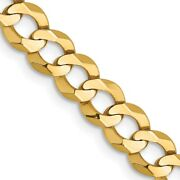 Real 14k Yellow Gold 7.2mm Lightweight Flat Cuban Chain 26 Inch Lobster Clasp