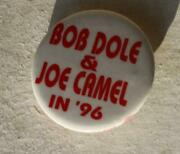 Bob Dole And Joe Camel In '96 Fantasy Candidate Red White Celluloid Pinback-cool