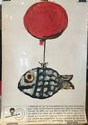 Original Vintage Advertising Poster 'citroen Ds' Fish And Balloon By Andre Francis