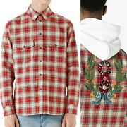 ⚡️glen Snake Wreath Embroider Patch Plaid Flannel Shirt Size 46 Small Men