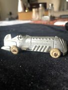 """Antique Hubley Cast Iron Boat Tail Racer Race Car Silver With Gold 3 3/4""""."""